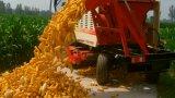 A ceifeira de milho a mais atrasada de quatro fileiras com o tanque grande da grão