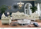 Sofá real do couro do estilo para a mobília da sala de visitas (B015)