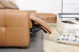 居間のための金カラーコーナーの革家具
