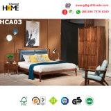 Base clássica do couro da mobília do quarto da madeira de carvalho com gavetas do armazenamento (HCA05)