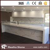 Lastra di pietra artificiale bianca come la neve della pietra del quarzo di Calacatta per il controsoffitto dell'isola di cucina