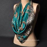 Шаль повелительниц 100% Silk сверхразмерные подгонянные/шарф сатинировки с границей печатание зебры (HWBS32)