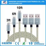 1m Nylon-umsponnenes Golden-Graues Streifen USB-Kabel