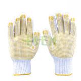 7 перчаток Knit шнура хлопка Bleach датчика желтые/голубого PVC ставят точки перчатки одной безопасности стороны работая (D16-H5)