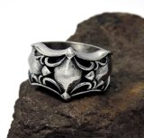 Aço inoxidável do anel dos homens de prata do vintage