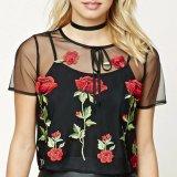 Moda de dos piezas Set bordado malla de encaje blusa camisola