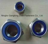 Écrous de blocage DIN985 en nylon avec la pente bleue 5 de boucle