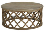 Projeto antigo da tabela do café, mesa de centro redonda da madeira contínua