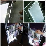Cable que suspende los bolsillos ligeros de acrílico doblados del LED para la visualización de la ventana del agente de la propiedad inmobiliaria