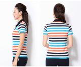 100%年の悪感情の綿の快適な縞のポロシャツ