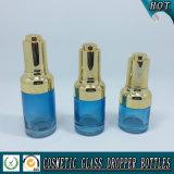 bouteille en verre colorée bleue de 20ml 30ml 50ml avec le compte-gouttes de pompe de presse