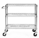 Multifunctionele 3-rij NSF Adjustable 550lbs Chrome Steel Trolley Cart