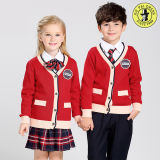 V-Neck Primary School Uniform Pullover Sweated Cardigan Sweater
