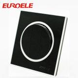 3 interruptor redondo de la pared del pulsador del color negro de la cuadrilla 10A