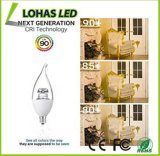 Dimmable E12 6W 2500k calienta la bombilla de la vela blanca del LED para la iluminación casera