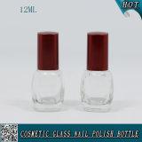 bottiglia di vetro del polacco di chiodo 12ml con la protezione rossa della spazzola della vite