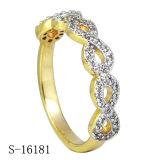 De zilveren Ring van de Oneindigheid van CZ van de Saffier van Juwelen Blauwe