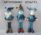Décor de Noël Santa Snowman et Moose décontracté cadeau-3sst