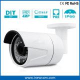Micが付いている防水夜間視界30m 4MP Poe IPのカメラ
