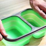 Коробка обеда силикона качества еды решетки 2 складная