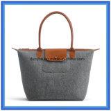 As lãs Eco-Friendly sentiram o saco de mão portátil da compra, saco personalizado do punho do Tote da promoção com Closing do Zipper (o índice de lãs é 70%)