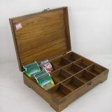 Le cru a terminé la boîte en bois à thé de 12 compartiments