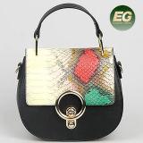 Zusammenstoß-Schlange-Leder-Abdeckstreifen-Beutel-echtes Leder-Handtaschen-Form-Dame-Schulter-Beutel Emg5087 färben