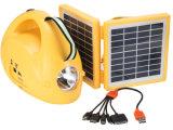 옥외 휴대용 태양 LED 재충전용 야영 손전등 빛