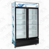 LG-1000d Double Swing Door Supermercado Beverage Refrigerator Upright Showcase