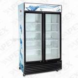 LG-1000d Puerta de doble batiente Supermercado Frigorífico de bebidas Escaparate vertical