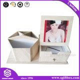 Rectángulo cosmético del cajón de la joyería de la textura de la cartulina de madera del papel
