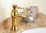 FLG hing goldene klassische Badezimmer-Hahn-Hahn-Plattform Kristallgriff ein