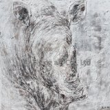 サイのためのクラフト動物の油絵の壁の芸術