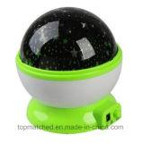 Decro casero para la luz rotatoria de la noche del proyector LED del cielo de la luna del amo de la estrella del USB de los cabritos