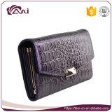 Tarjeta de alta calidad hechos a mano carpeta del cuero genuino, Color Púrpura grano del cocodrilo del monedero de las tarjetas de