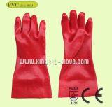 Красная перчатка промышленной работы PVC с сертификатом Ce (PVC Glove-35cm)