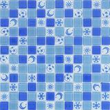 فسيفساء زرقاء زجاجيّة [موسيك] لأنّ جدار وأرضية