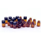1-5/8 fioles en verre ambres de la DRACHME 3ml avec des réducteurs d'orifice et des chapeaux noirs