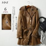 Estilo de Shearing Leather Coat Long de señora