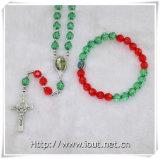 Ожерелье шарика дешевого креста Rosary пластичные и браслет, Rosary устанавливают (IO-crs011)