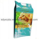Seitliches Stützblech-Plastiktasche für Körner/Reis/Nahrung für Haustiere mit Griff-Loch