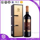 Caixa de presente personalizada para vinho de couro portátil com alça