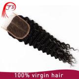 Fechamento brasileiro do laço do cabelo humano 4*4 de Remy do Virgin profundo da onda