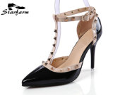 Rose Color Women Rivet Straps Talons hauts