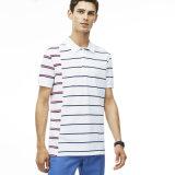Camisa de polo rayada ajustada del algodón de los hombres al por mayor