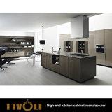 Mdf-vertikales hölzernes Korn-Melamin und Paiting Küche-Möbel (AP022)