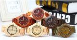Relógio de madeira de madeira da sandália do aço inoxidável