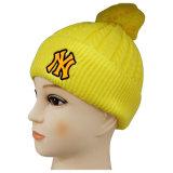 Bonnet en tricot jaune avec soudure en plastique Nice Logo NTD1601