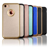 Hybrid Shockproof 2in1 Anti-Fingerprint Premium Leather Textured Pattern Grip Case com eletroeleira flexível PC Bumper + Soft TPU Cover for iPhone 7 4.7 Inch