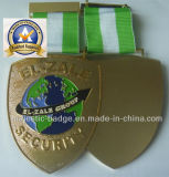Customizaed Gold Plating Police Badge及びGreenおよびWhite Ribbon (MJBadge 010)